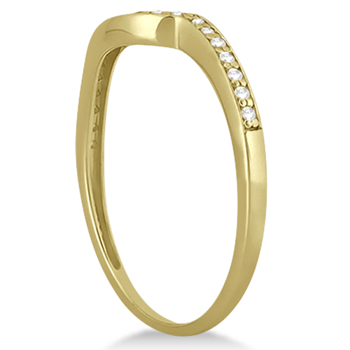 Pave Contour Band Diamond Wedding Ring 14k Yellow Gold (0.12ct)