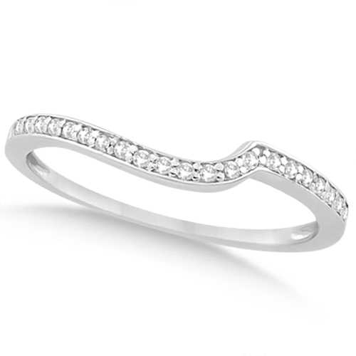 Pave Contour Band Diamond Wedding Ring 18k White Gold (0.12ct)