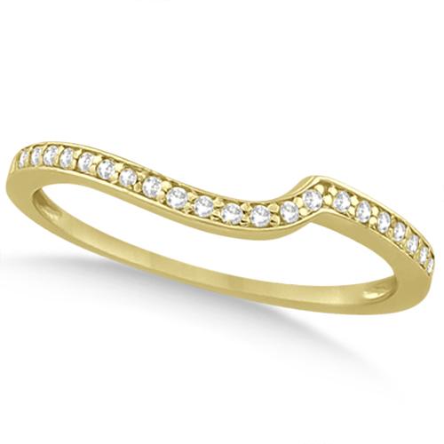 Pave Contour Band Diamond Wedding Ring 18k Yellow Gold (0.12ct)