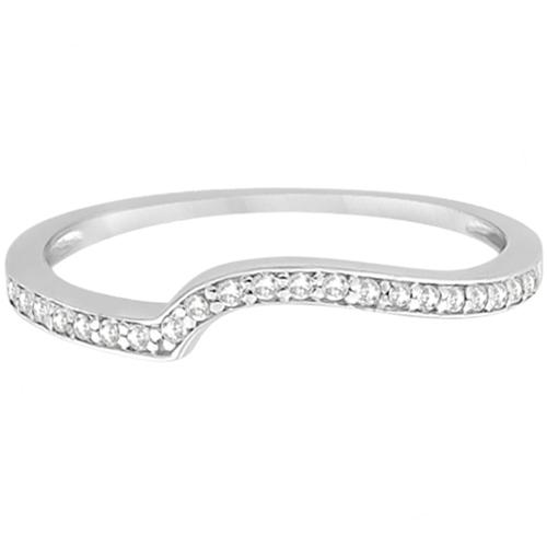 Pave Contour Band Pave Diamond Wedding Ring Palladium (0.12ct)