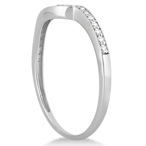 Pave Contour Band Pave Diamond Wedding Ring Platinum (0.12ct)