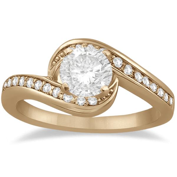 Pave Diamond Swirl Engagement Ring Setting 14k Rose Gold (0.24ct)
