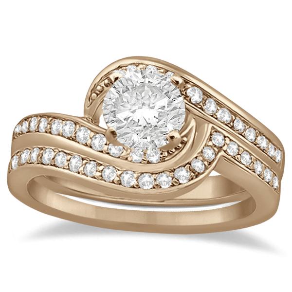 Pave Diamond Swirl Engagement Ring Bridal Set 14k Rose Gold (0.44ct)