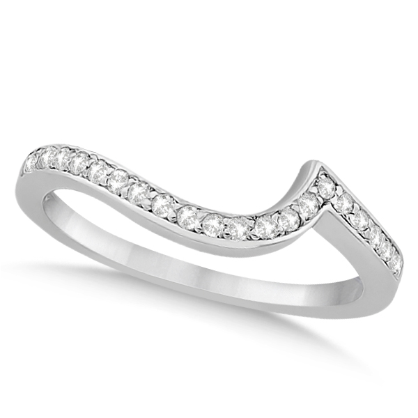 Pave Diamond Swirl Contour Wedding Band 14k White Gold (0.20ct)