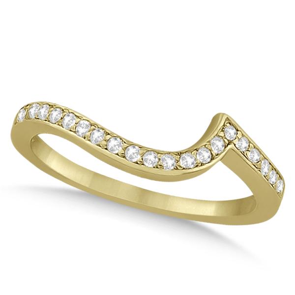 Pave Diamond Swirl Contour Wedding Band 14k Yellow Gold (0.20ct)