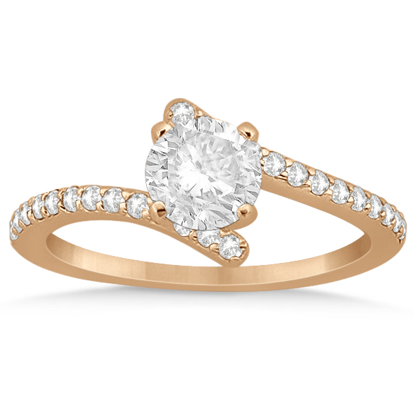 Diamond Accented Bypass Engagement Ring Setting 18K Rose Gold 0.26ct
