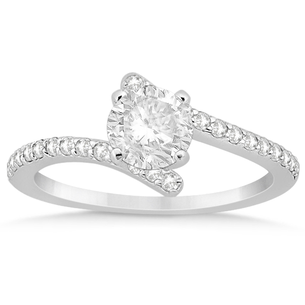 Diamond Accented Bypass Engagement Ring Setting in Platinum 0.26ct