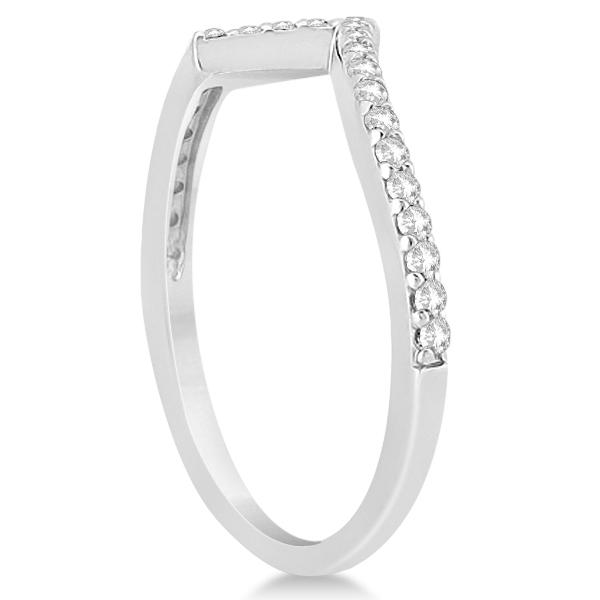 Twisted Diamond Engagement Ring & Wedding Band 18K White Gold 0.52ct