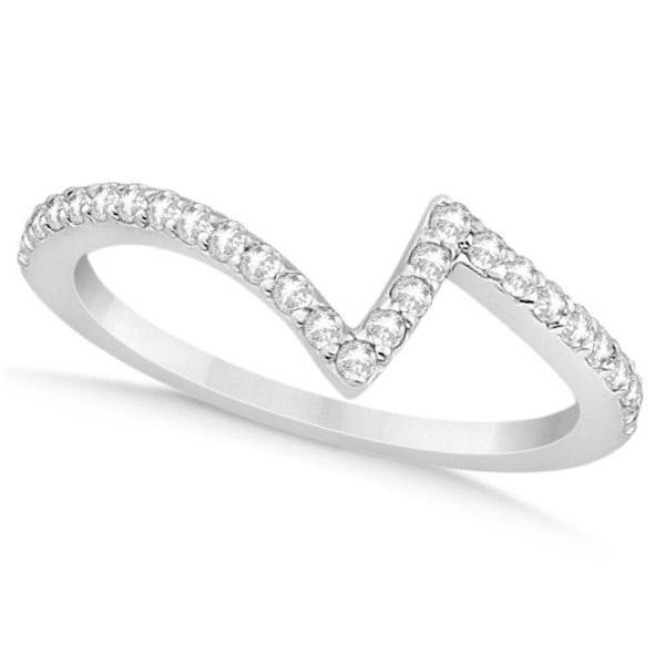 V Shape Contour Diamond Wedding Band In 14k White Gold 0 26ct