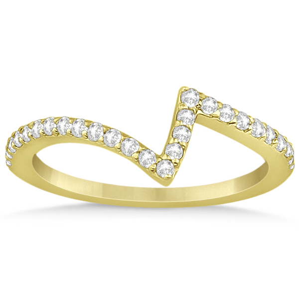 V-Shape Contour Diamond Wedding Band in 14K Yellow Gold (0.26ct)