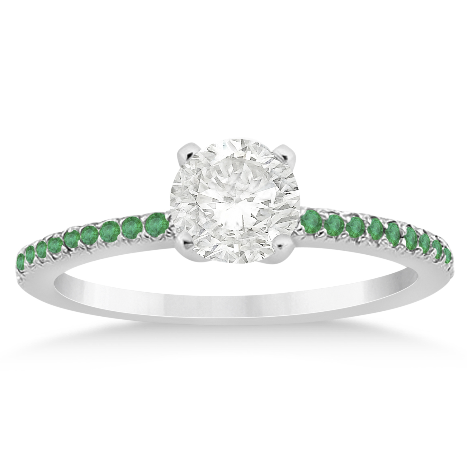 emerald accented engagement ring setting 14k white gold 0 18ct