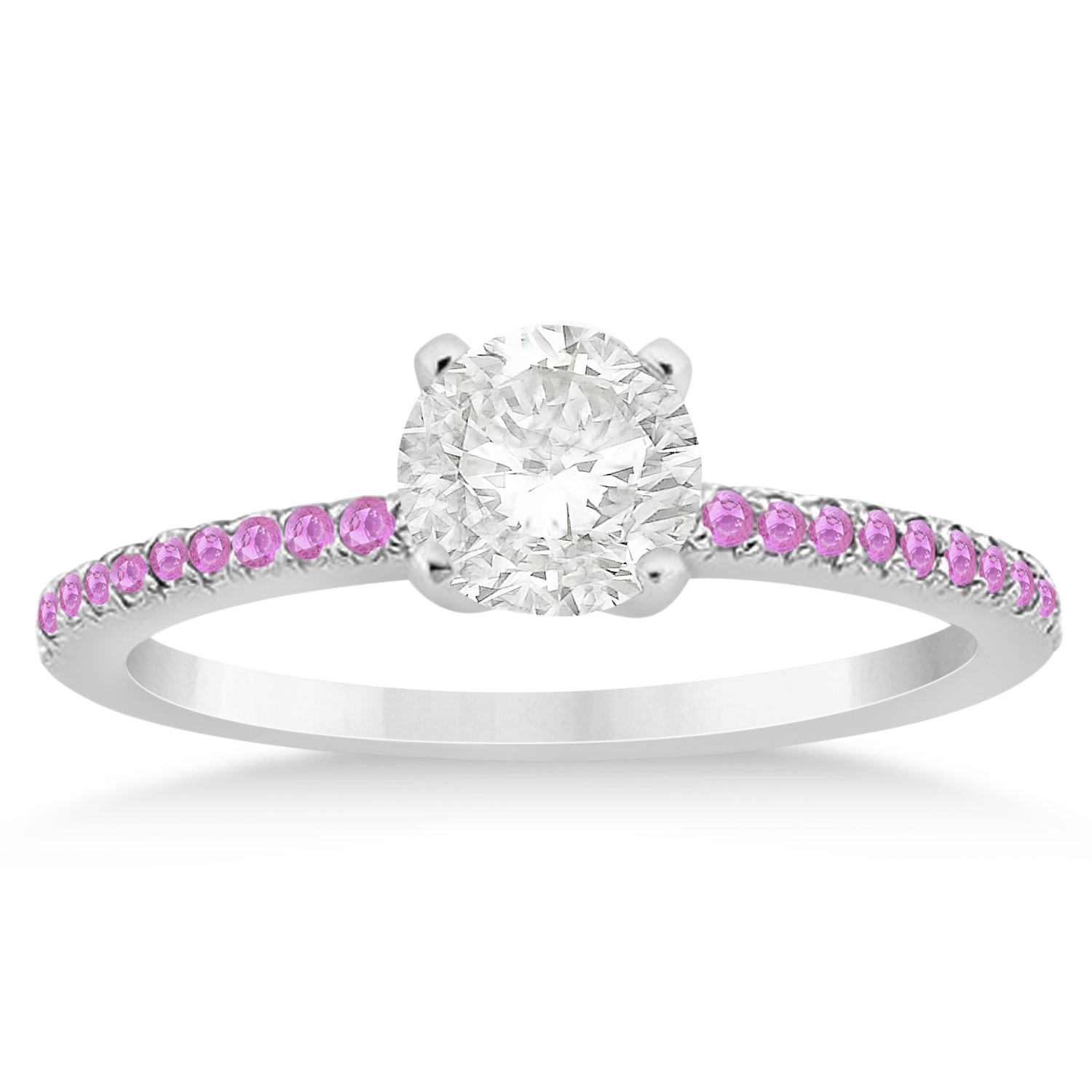 pink sapphire accented engagement ring setting 14k white
