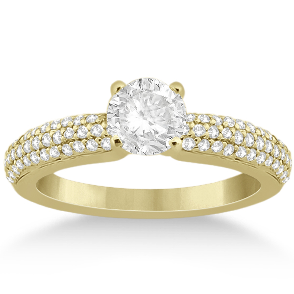 Triple Row Pave Diamond Engagement Ring & Band 18k Yellow Gold 0.78ct
