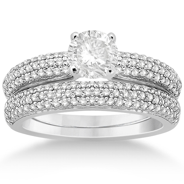 Triple Row Pave Diamond Engagement Ring & Band Palladium 0.78ct
