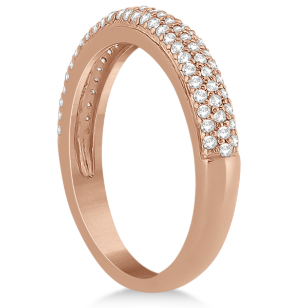 Triple Row Micro Pave Diamond Wedding Band 14K Rose Gold (0.40ct)
