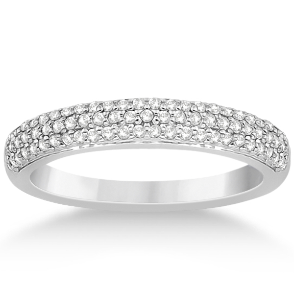 Triple Row Micro Pave Diamond Wedding Band 14K White Gold (0.40ct)