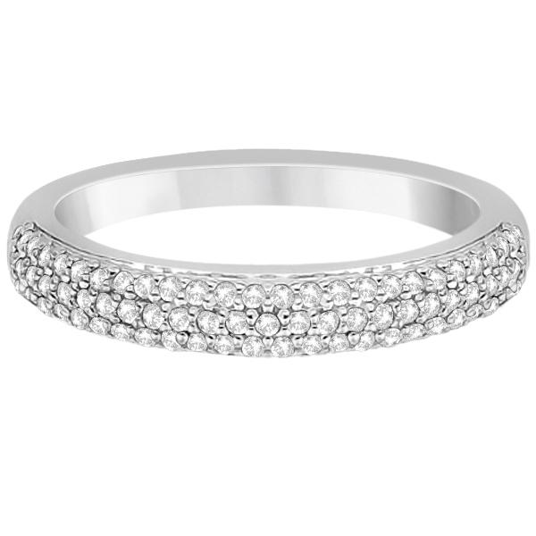 Triple Row Micro Pave Diamond Wedding Band Platinum (0.40ct)