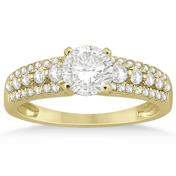 Three-Row Prong-Set Diamond Engagement Ring 14k Yellow Gold (0.37ct)