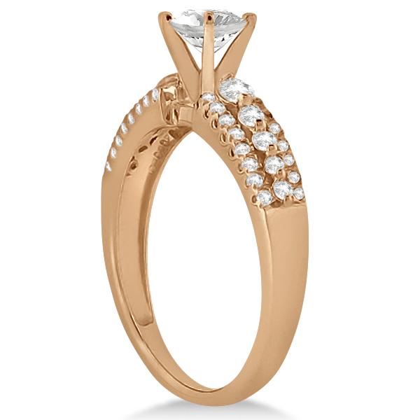Three-Row Prong-Set Diamond Engagement Ring 18k Rose Gold (0.37ct)