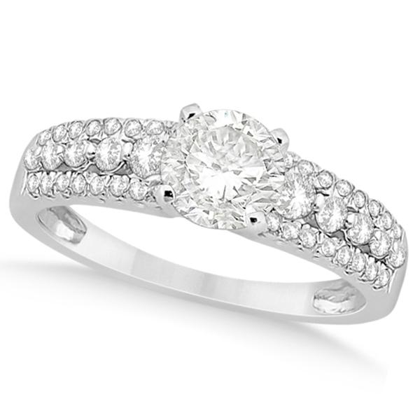 Three-Row Prong-Set Diamond Engagement Ring Palladium (0.37ct)