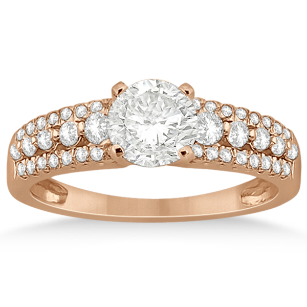 Three-Row Prong-Set Diamond Bridal Set in 14k Rose Gold (0.80ct)