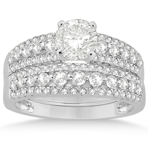 Three-Row Prong-Set Diamond Bridal Set in 14k White Gold (0.80ct)