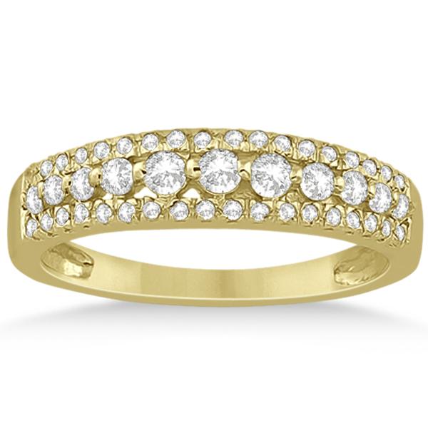 Three-Row Prong-Set Diamond Bridal Set in 14k Yellow Gold (0.80ct)