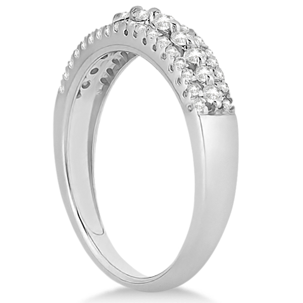 Three-Row Prong-Set Diamond Bridal Set in 18k White Gold (0.80ct)