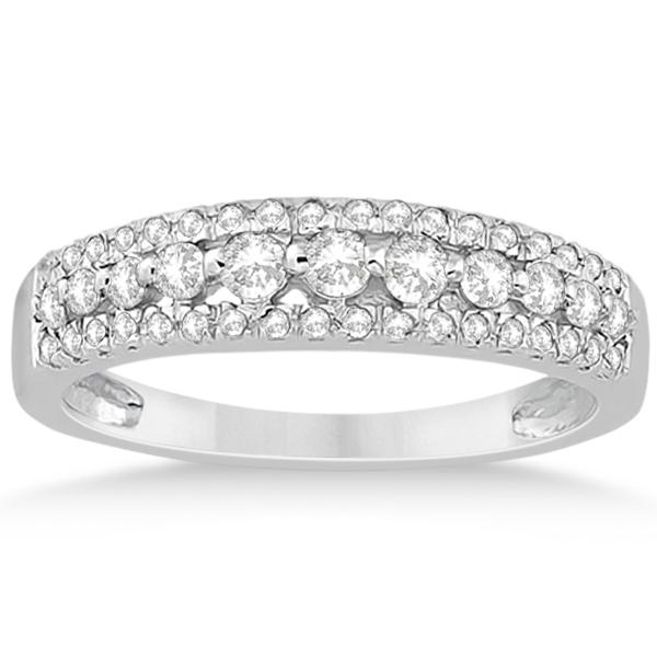 Three-Row Prong-Set Diamond Wedding Band in 14k White Gold (0.43ct)
