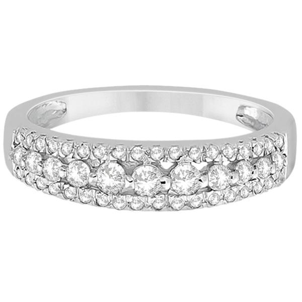 Three-Row Prong-Set Diamond Wedding Band in Platinum (0.43ct)
