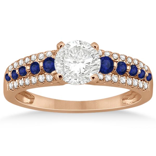 Three-Row Blue Sapphire Diamond Engagement Ring 18k Rose Gold 0.55ct