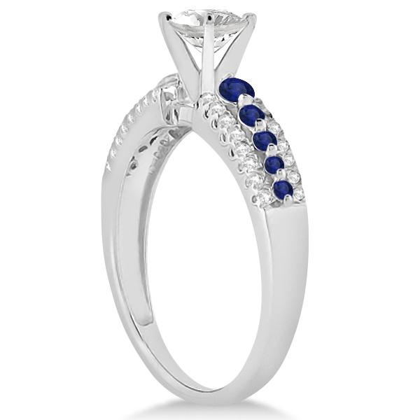 Three-Row Blue Sapphire Diamond Engagement Ring Palladium 0.55ct