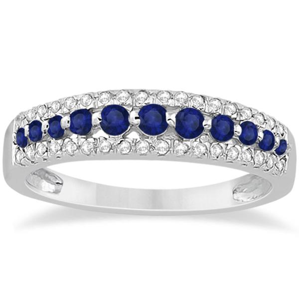 Three-Row Blue Sapphire & Diamond Bridal Set 14k White Gold (1.18ct)