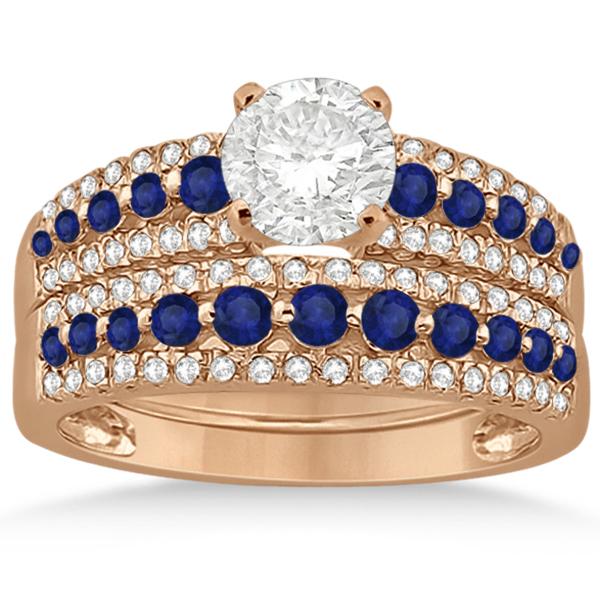 Three-Row Blue Sapphire & Diamond Bridal Set 18k Rose Gold (1.18ct)