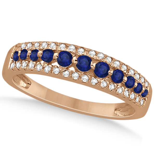 Three-Row Blue Sapphire & Diamond Wedding Band 18k Rose Gold 0.63ct