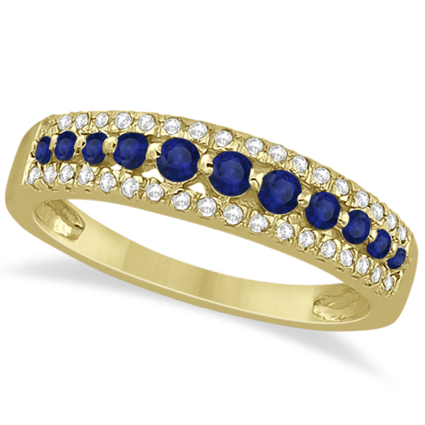 Three-Row Blue Sapphire & Diamond Wedding Band 18k Yellow Gold 0.63ct
