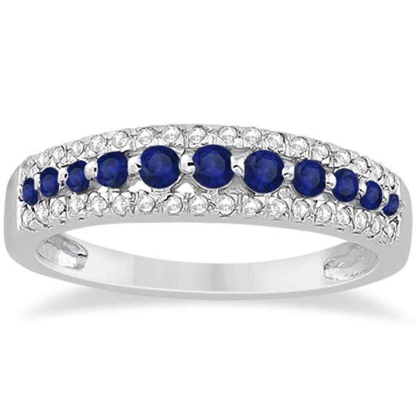 Three-Row Blue Sapphire & Diamond Wedding Band Palladium 0.63ct