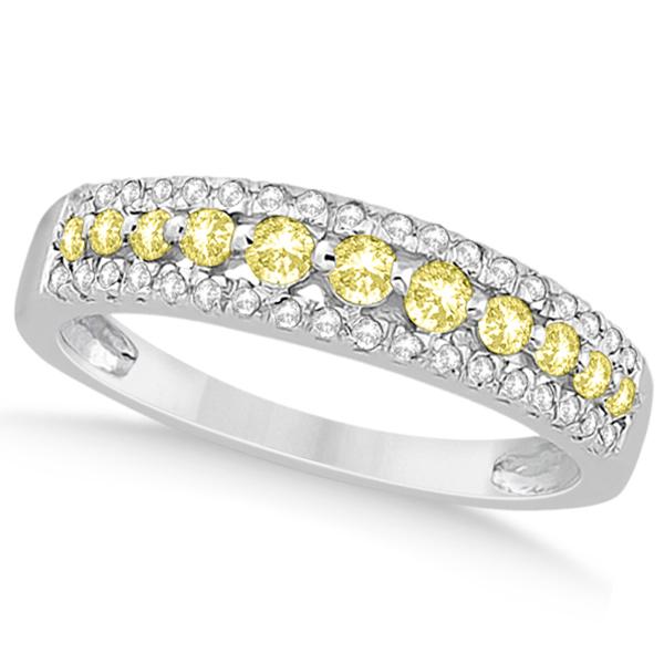 3-Row Yellow & White Diamond Wedding Band in 14k White Gold (0.43ct)