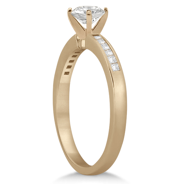 Channel Set Princess Cut Diamond Engagement Ring 14k Rose Gold (0.15ct)