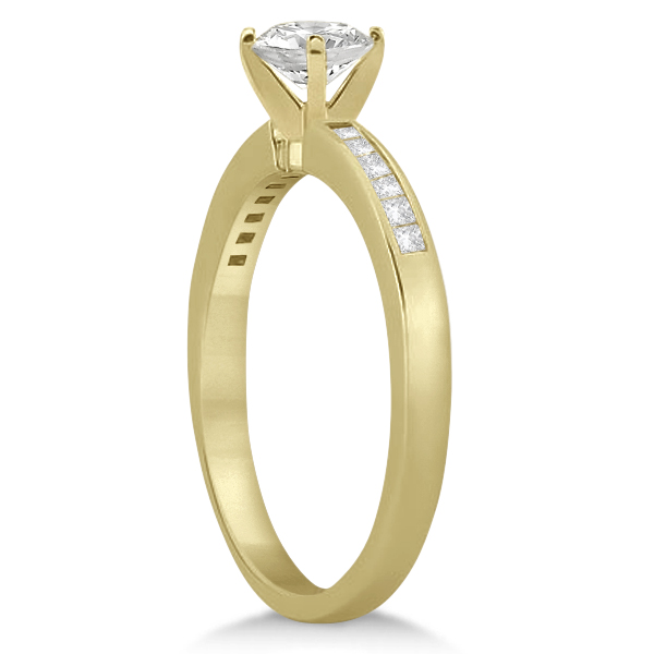 Channel Set Princess Cut Diamond Engagement Ring 14k Yellow Gold (0.15ct)