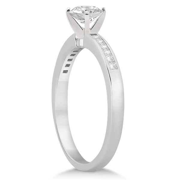 Channel Set Princess Cut Diamond Engagement Ring 18k White Gold (0.15ct)
