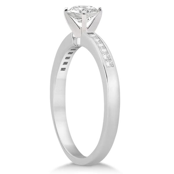 Channel Set Princess Cut Diamond Engagement Ring Palladium (0.15ct)