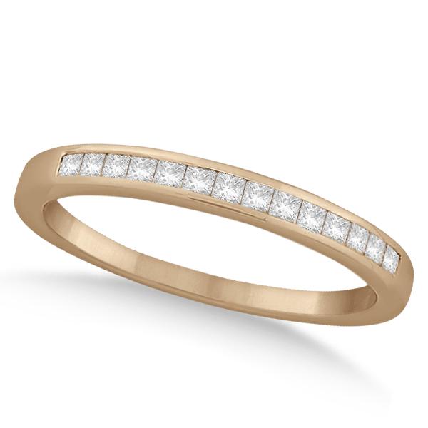 Channel Princess Cut Diamond Bridal Ring Set 14k Rose Gold (0.35ct)