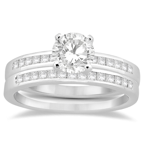 Channel Princess Cut Diamond Bridal Ring Set 14k White Gold (0.35ct)