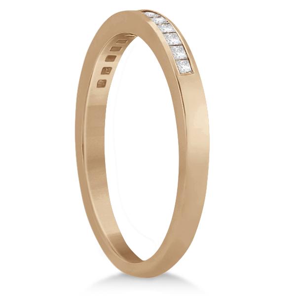 Channel Princess Cut Diamond Bridal Ring Set 18k Rose Gold (0.35ct)