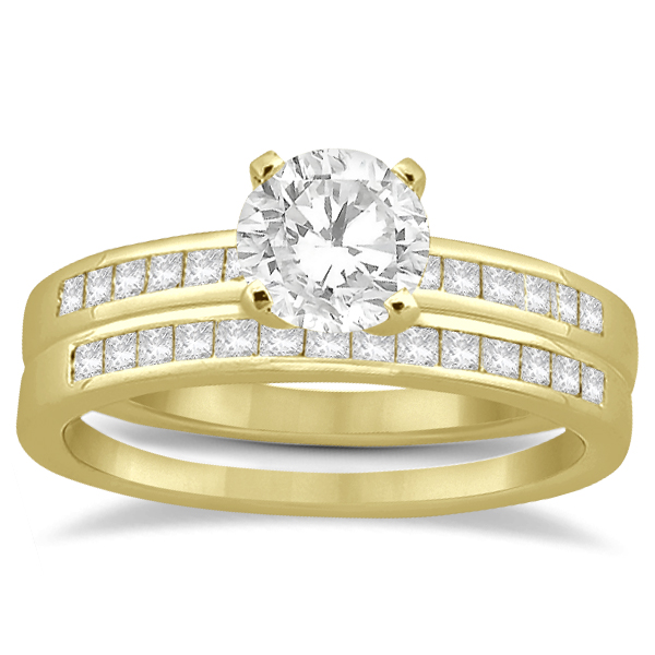 Channel Princess Cut Diamond Bridal Ring Set 18k Yellow Gold (0.35ct)