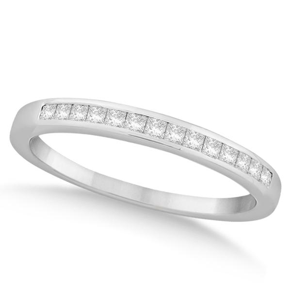 Channel Set Princess Cut Diamond Wedding Band 14k White Gold (0.20ct)