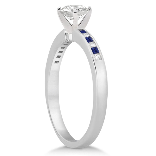 Princess Diamond & Blue Sapphire Engagement Ring 14k White Gold (0.20ct)