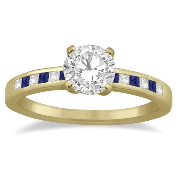 Princess Diamond & Blue Sapphire Engagement Ring 14k Yellow Gold (0.20ct)