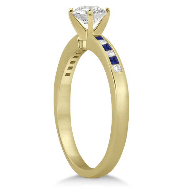 Princess Diamond & Blue Sapphire Engagement Ring 18k Yellow Gold (0.20ct)